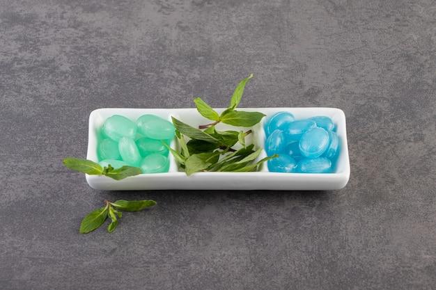 민트와 녹색 및 파랑 잇몸 회색 표면 위에 흰색 접시에 나뭇잎