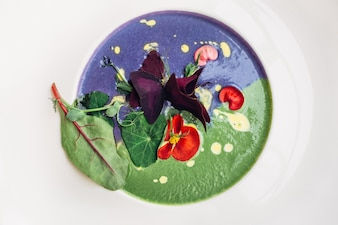 Green and blue soup served in white plate
