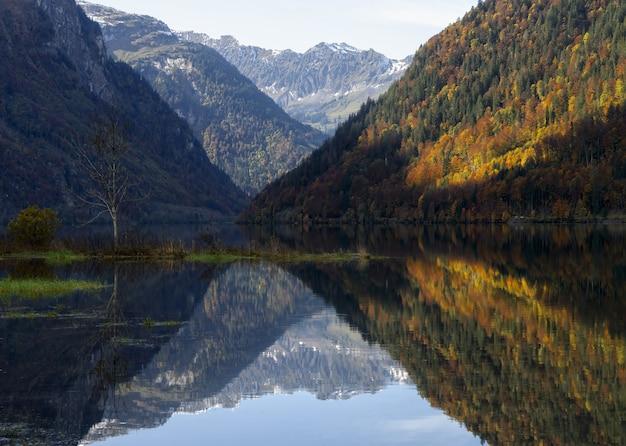 昼間の湖の横にある緑と茶色の山々
