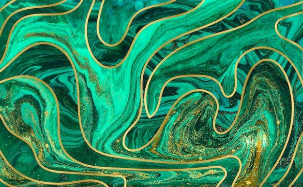 緑と金の波紋の背景。黄金の大理石のテクスチャ。