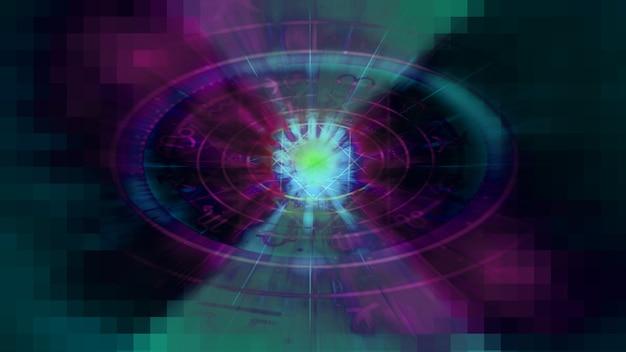 Зеленый и фиолетовый астрология гороскоп узор текстуры фона, графический дизайн
