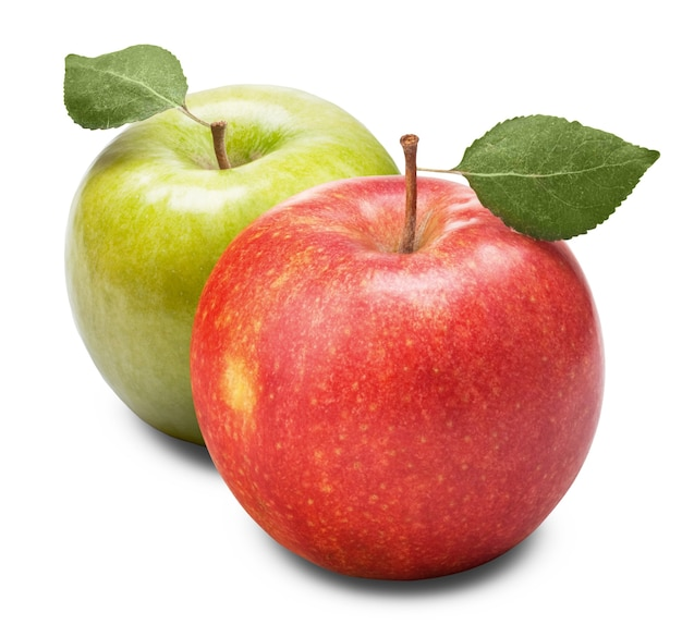 Зеленое и красное яблоко с листьями, изолированными на белом