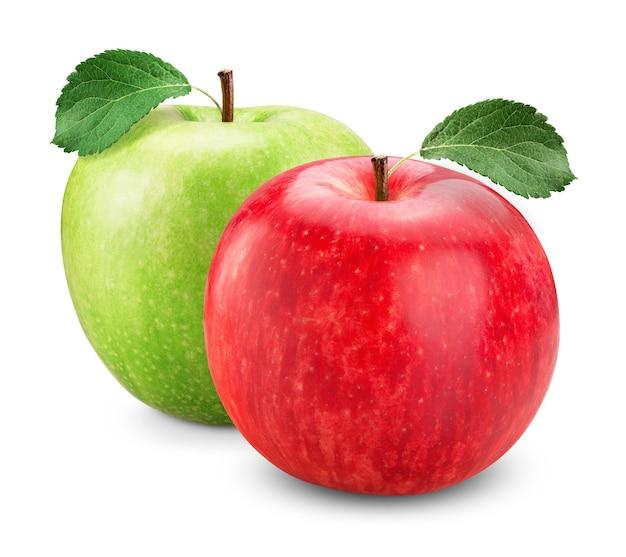 白で隔離の葉を持つ緑と赤のリンゴ