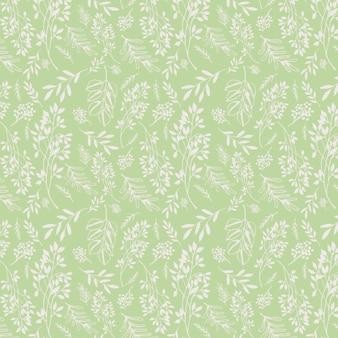 Зеленый и белый старинный старинный цветочный узор на конце книги в стиле ар-нуво