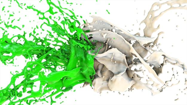 緑と白の液体が衝突し、孤立した白地の側面にスプラッタフライを落とす