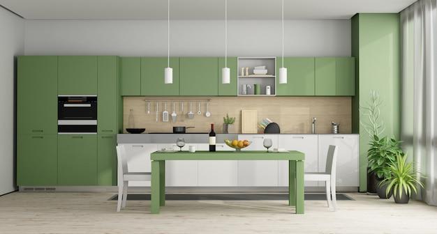 緑と白のモダンなキッチン-3dレンダリング