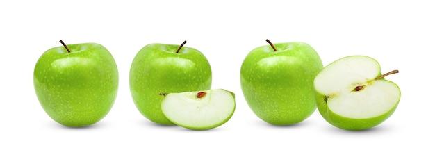 白い表面に分離された青リンゴ