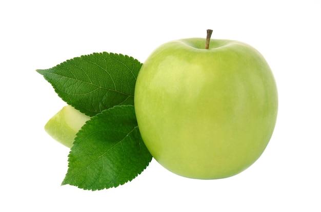 Зеленое яблоко, изолированные на белом