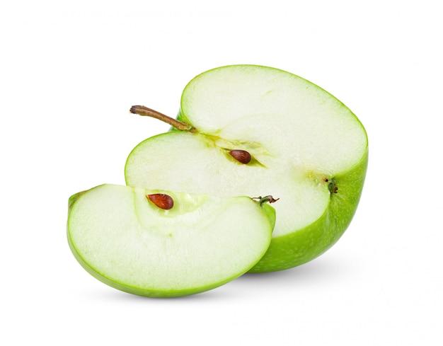 白い背景に分離された青リンゴ