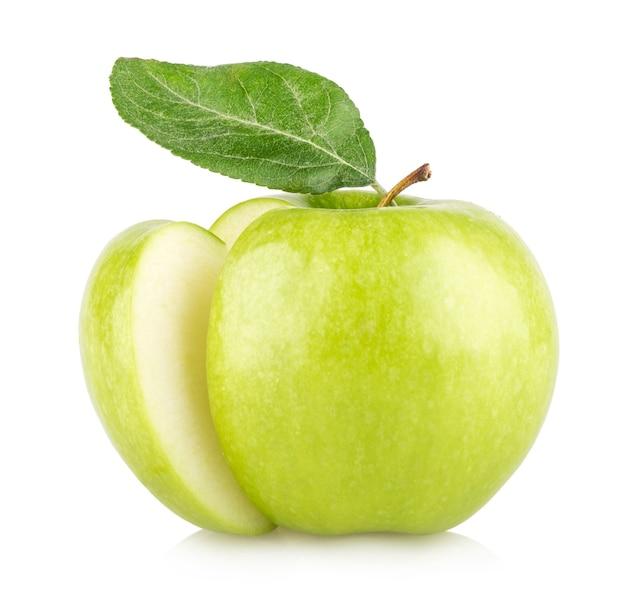 白地に分離された青リンゴ