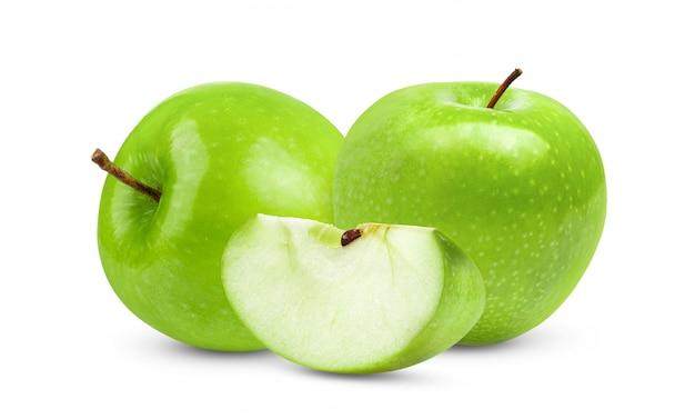 ホワイトスペースに分離された青リンゴ