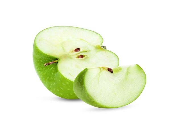 白で隔離される青リンゴ
