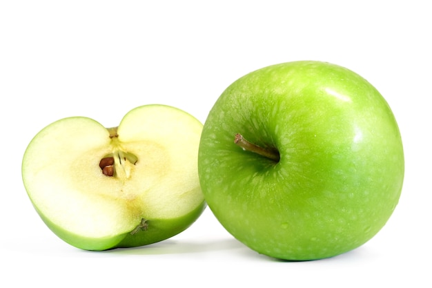 Green apple isolated on white background, with clipping path