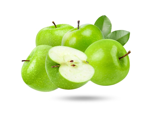 白い表面に青リンゴ