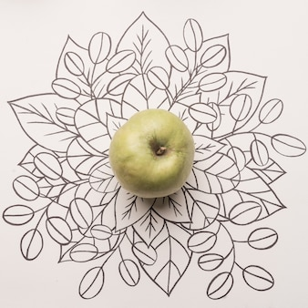Green apple over outline floral background