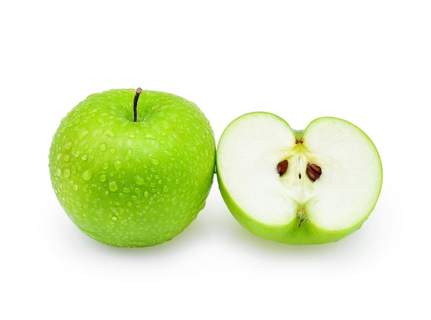 Green apple with drop of water on white background.