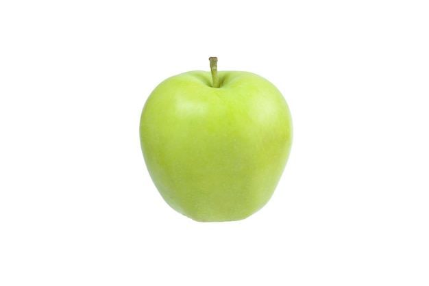 Green apple in woman hand  isolated on white background.