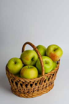 Green apples in a basket.