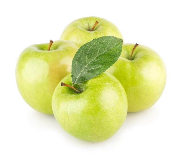 白い背景で隔離の青リンゴ