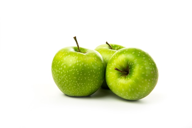 Green apples isolated on white.