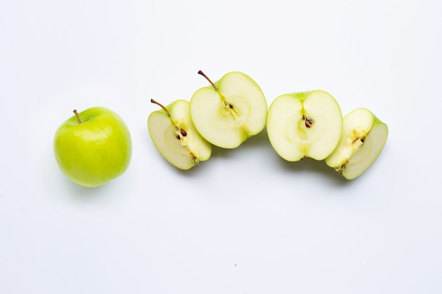 Green apples on white background.