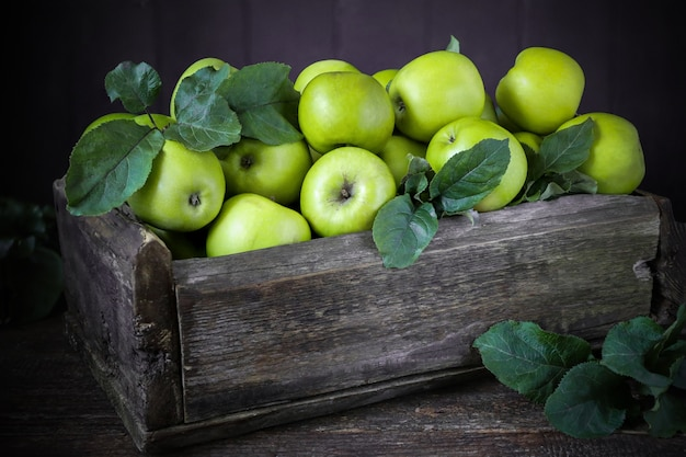 Green apples in a wooden box on old boards, rustic, vintage, harvest