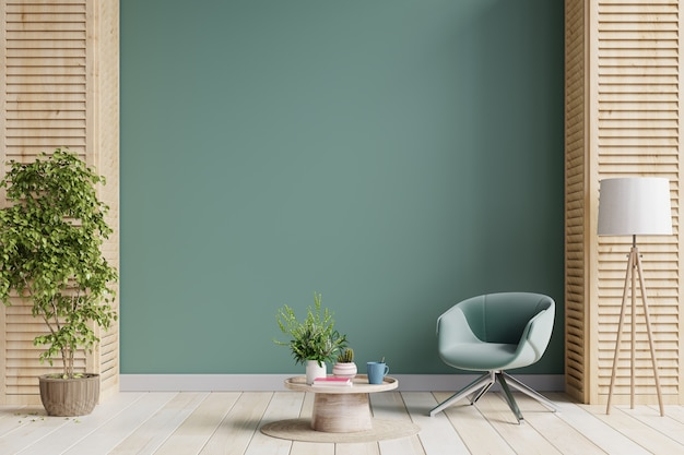 녹색 안락의 자 및 식물, 진한 녹색 wall.3d 렌더링 거실 인테리어에 나무 테이블