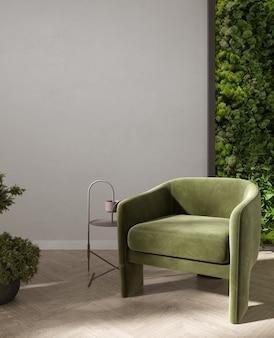 이끼 벽과 식물, 밝은 베이지색 벽, 3d 렌더링이 있는 거실 내부의 녹색 안락의자와 커피 테이블