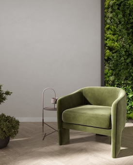 Green armchair and coffee table in living room interior with moss wall and plant, light beige wall, 3d rendering