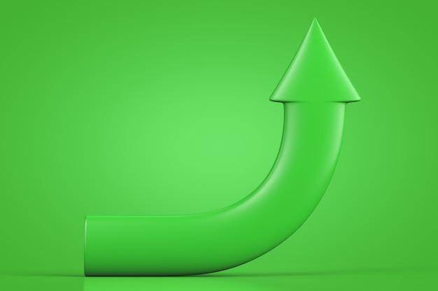 Зеленая стрелка на зеленой стене изогнулась вверх.