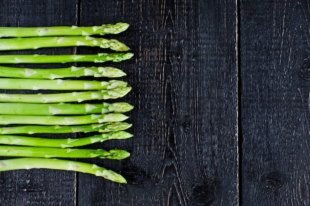 Green asparagus, background with copyspace