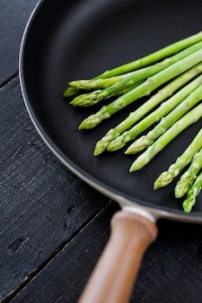 Green asparagus in the pan.