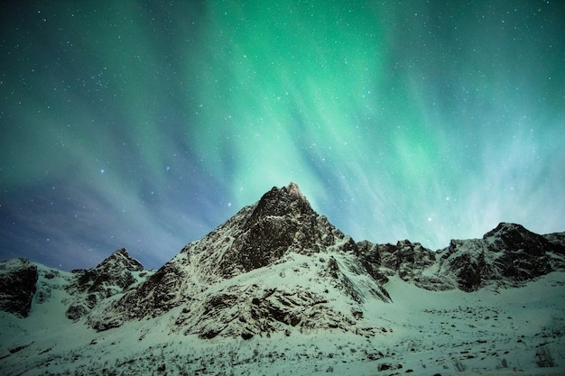 Lofoten 섬의 눈 산에 녹색 오로라 보 리 얼리 스 폭발
