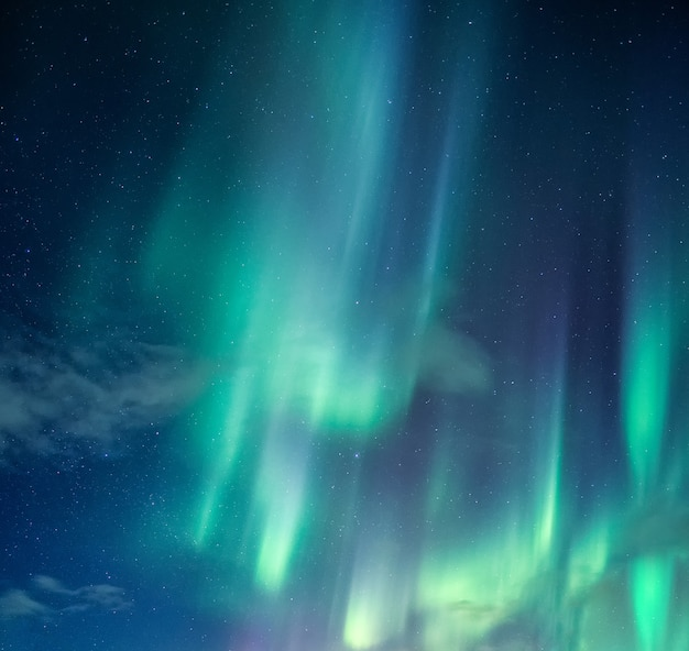 Green aurora borealis, northern lights with stars glowing in the night sky on arctic circle