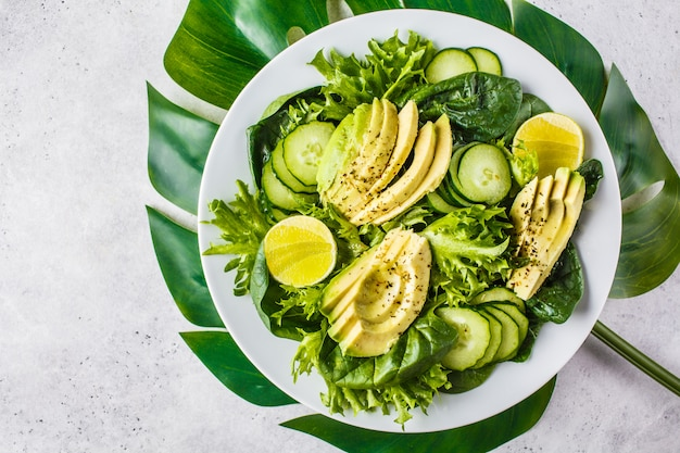 Green avocado and cucumber salad in white plate. detox menu, vegan food, plant based diet.