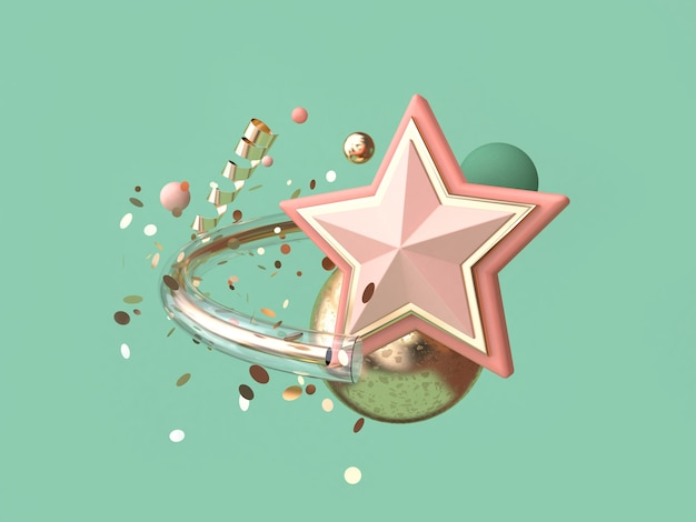 Green background abstract pink star many object decoration floating christmas