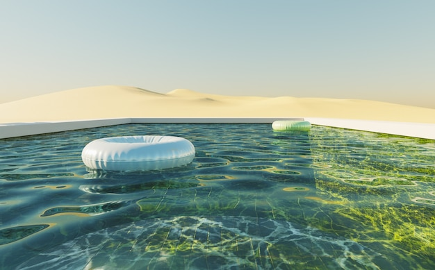 Green background pool in a dune desert with clear sky and floats in the water. 3d render
