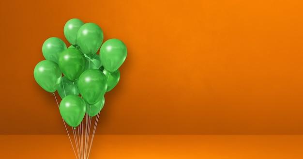 오렌지 벽 배경에 녹색 풍선 무리입니다. 가로 배너입니다. 3d 그림 렌더링