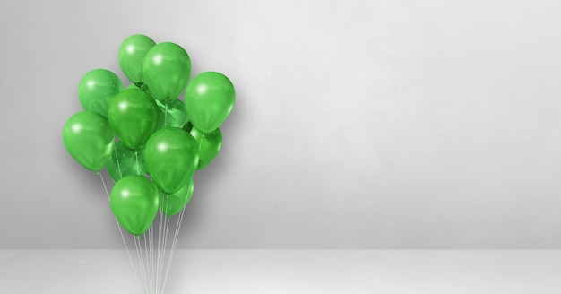 Green balloons bunch on a white wall background. horizontal banner. 3d illustration render