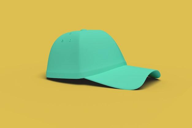 Зеленая бейсбольная кепка на желтом фоне