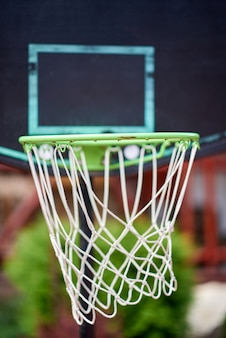 Green basketball hoop in close up
