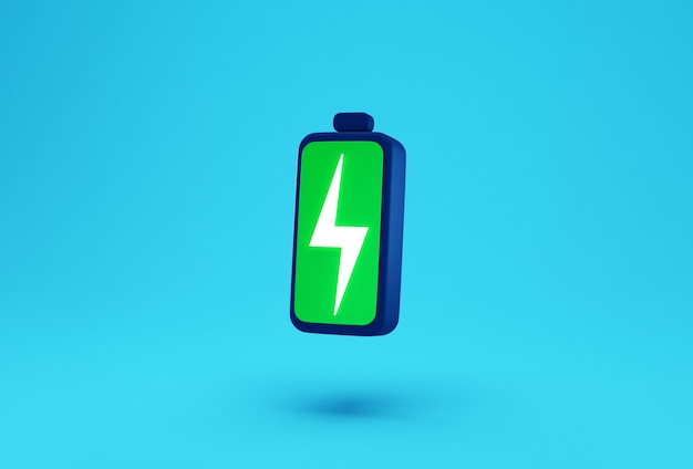 Green battery with lightning bolt charge symbol creative concept.
