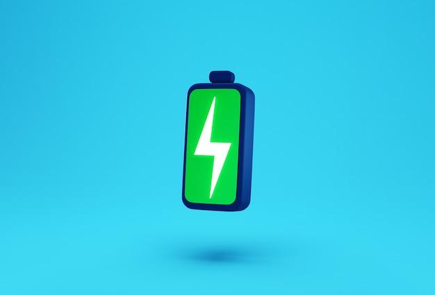 Зеленая батарея с творческой концепцией символа заряда молнии.