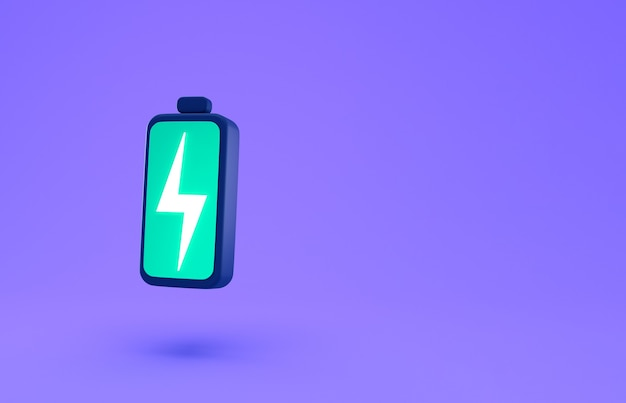 Green battery with lightning bolt charge symbol