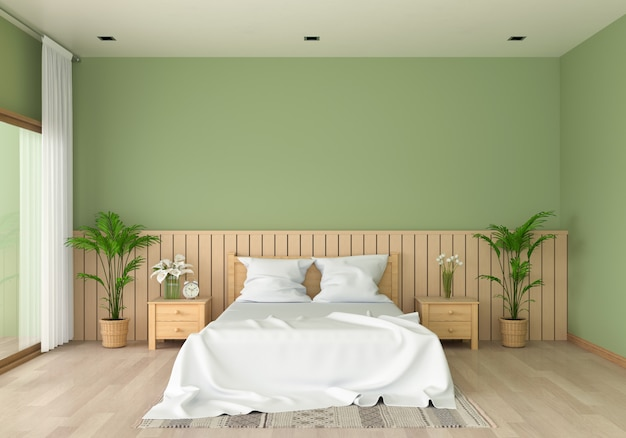 Green bedroom interior for mockup