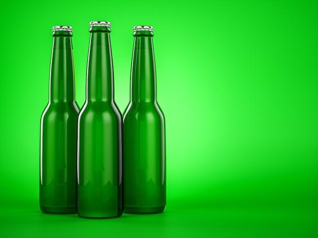 緑のビール瓶茶色のラベルなし。 3dイラストレーター