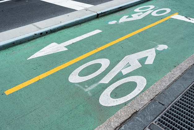 Green bicycle lane closeup