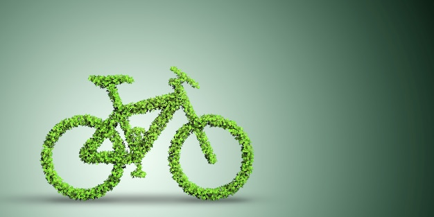 Green bicycle in transportation