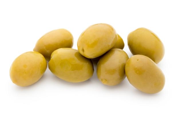 Green big olives on white