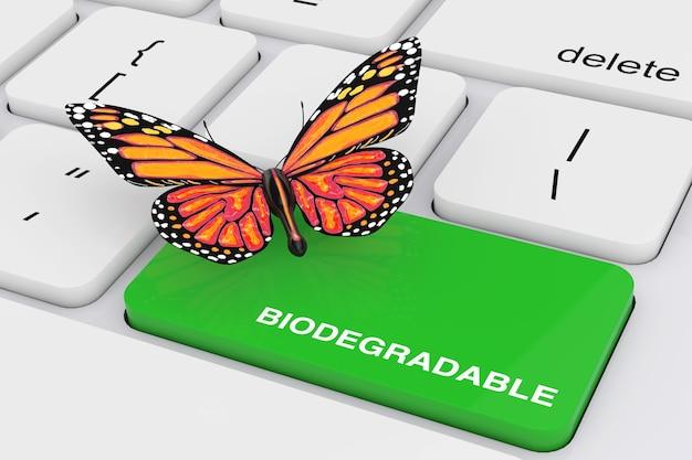 흰색 pc 키보드 극단적인 근접 촬영에 나비와 함께 녹색 생분해성 키입니다. 3d 렌더링